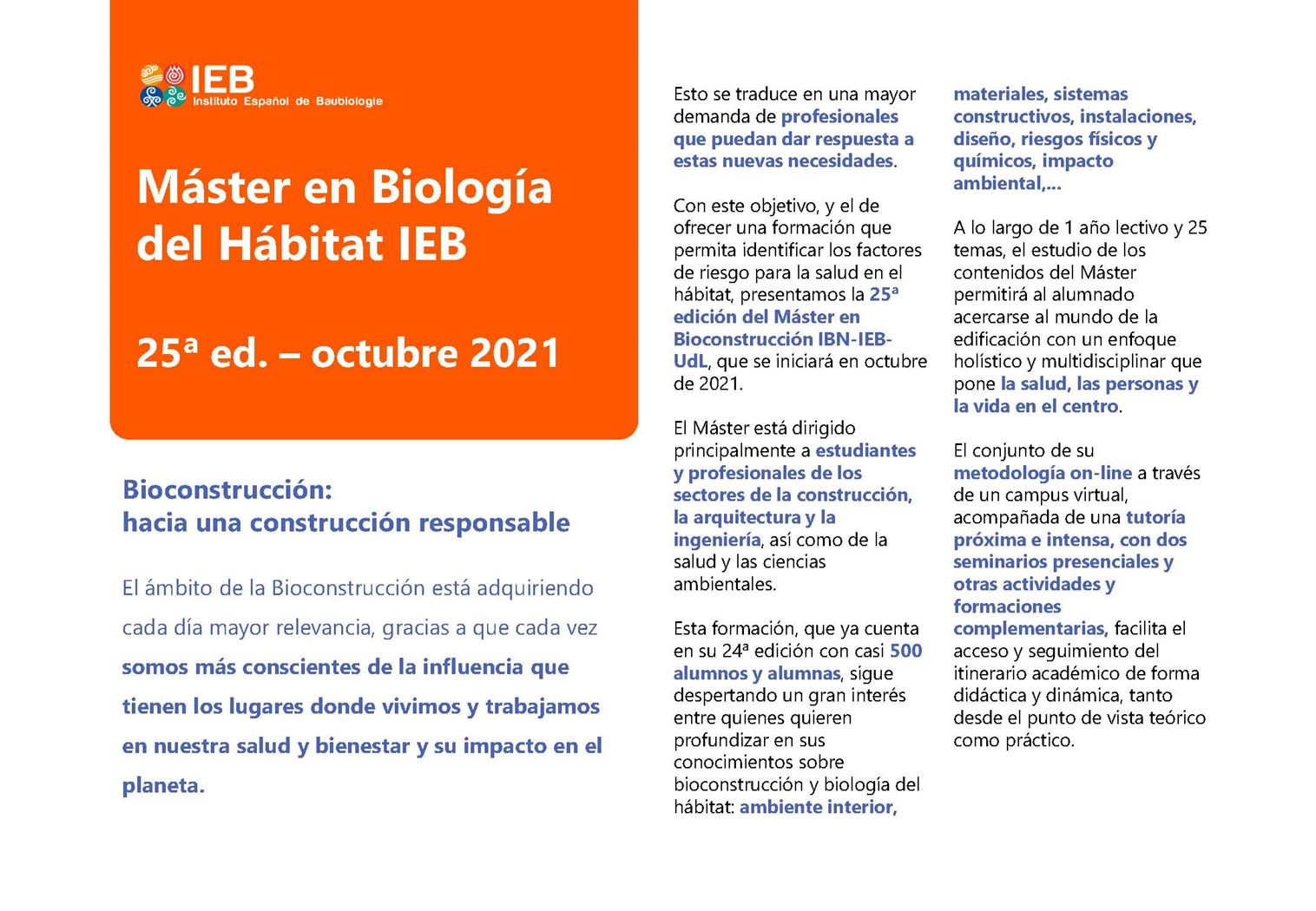 máster bioconstrucción IEB